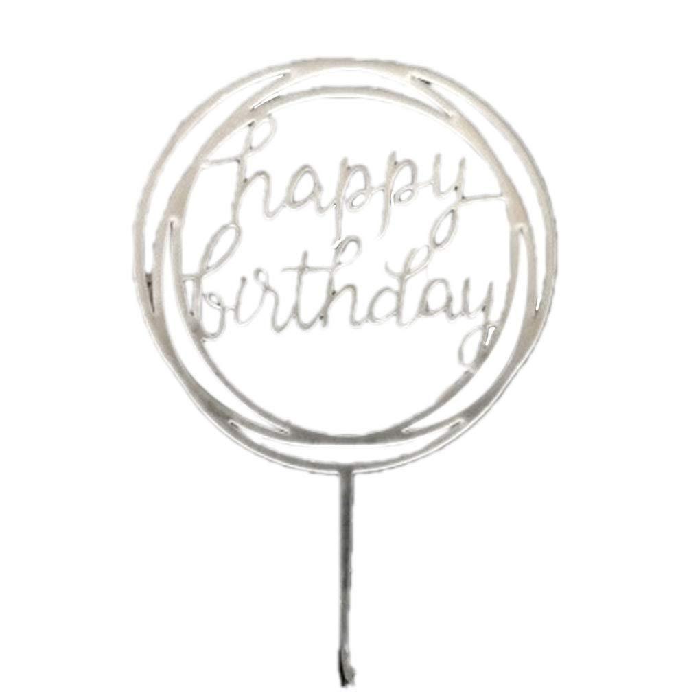 Gankmachine Round Happy Birthday Letter Cake Topper Acrylic DIY Cupcake Cake Smash Candle Party Handmade Stick