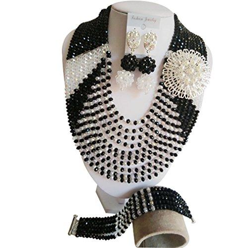 laanc populares collar 10filas negro y blanco cristal boda nigeriano cuentas africanos joyería conjuntos A000230