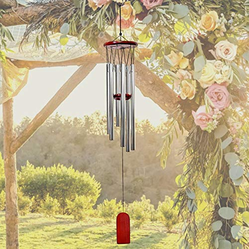 "Wooden Wind Chimes Outdoor - 37""H Dark Wood and Silver Metal Windchimes - Musical Wooden Wind Catcher for Home Garden Decor - Gifts for Home Patio Yard"