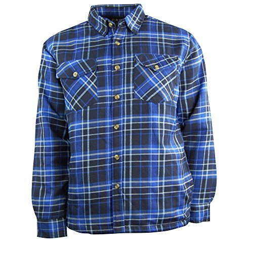 Men's Classic Plaid Long Sleeve Quilted Flannel Shirt Jacket: Button Down (X-Large, Blue/Black)