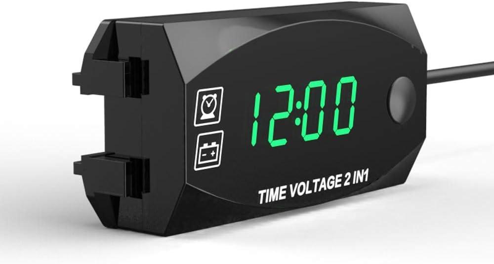 Carrfan Voltmetro 2 in 1 Multifunzione 6V-30V per Orologio da Moto per Veicoli elettrici con Display Digitale Timer Impermeabile