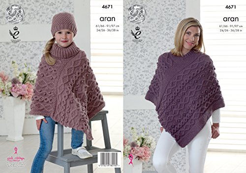 King Cole Ladies & Girls Aran Knitting Pattern for Cable Knit V or Polo Neck Poncho & Hat (4671)