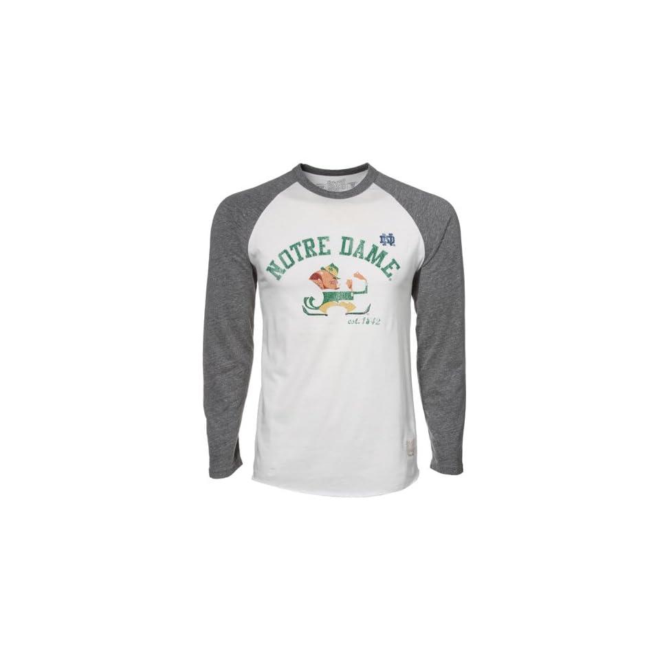 NCAA Original Retro Brand Notre Dame Fighting Irish Cream Gray Long Sleeve Raglan Premium Tri Blend T shirt (Medium)