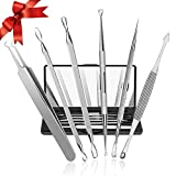 #6: Blackhead Remover, Chimocee 6PCS Pimple Comedone Extractor Tool, Blackhead Whitehead Blemish and Splinter Best Acne Zit Removal Tool for Risk Free Nose Face, A Gift Box with Mirror
