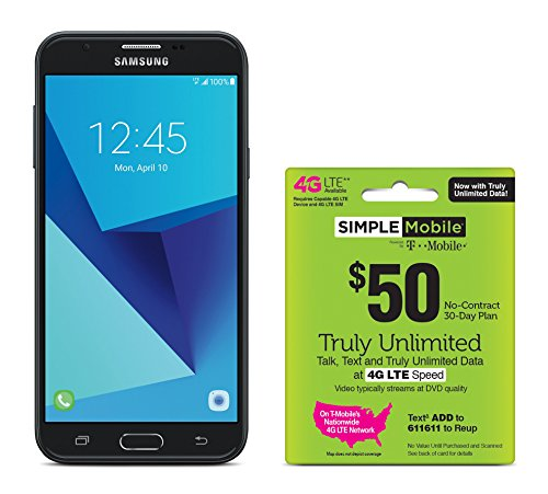 Simple Mobile Samsung Galaxy J7 Sky Pro 4G LTE Prepaid Smartphone with Free $50 Unlimited - Package Unlimited