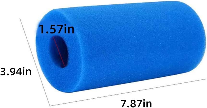 2Pcs Dlicsy Blue Pool Filter Cartridge for Intex Type A,Summer Swimming Pool Filter Foam Replacement Cartridge,Reusable Washable Sponge Cleaner for Indoor Outdoor Pools