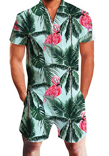Romper Hawaiian - AIDEAOEE Men Hawaiian Romper 3D Graphic Summer Palm Tree Flamingo Jumpsuit Zipper Short Sleeve Overalls One Piece Outfit XL