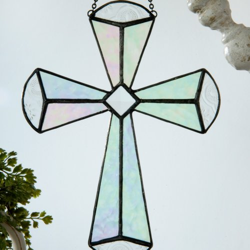 J Devlin Orn 180 Stained Glass Cross Ornament Window Sun Catcher Clear Iridescent and Beveled Glass (Sun Decorations Hanging)