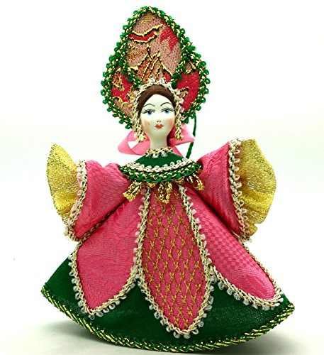[CHRISTMAS Tree Ornament Russian Doll in traditional folk costume with porcelain hand painted face Girl in a pink green dress] (Porcelain Doll Costumes)