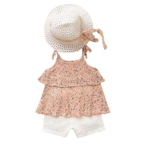 Drees For Girls (((2T-7T) Toddler Girls Skits Set,3Pcs Chiffon Floral Overalls Skirt +Shorts Pants+Hat Outfits residentD (2-3 Years,)
