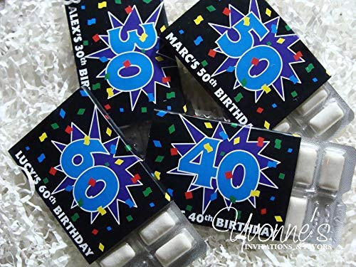 - 30th-40th-50th-60th Birthday Gum Wrappers-Personalized Party Favor Gum Wrappers-Fun Party Confetti Design-For Age Milestone Birthday (SET OF 12) ** GUM NOT INCLUDED **