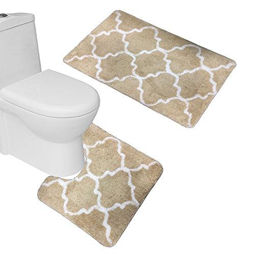 Amagical 2 Piece Ultra Soft Microfiber Bath Mats Set Contemporary Moroccan Lattice Geometric Large Mat 20
