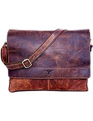 hlc 16 Leather Messenger Satchel Flap Over Laptop Buffalo Leather Vintage Look Genuine Leather Messenger Bag