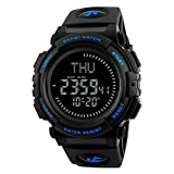 MAARYEE Men's Fashion Compass Sports Digital Wrist Watches Water Resistant Multi-Function Watch with LED Backlight 2 Colors (Blue)