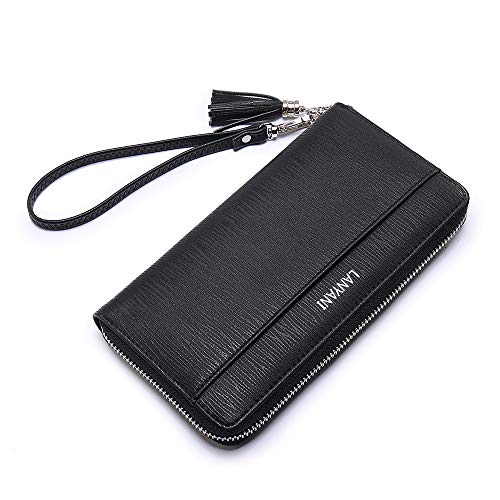 - Women large Wallet soft leather wristlet Card Organizer Phone holder Ladies Clutch Long Purse with Wrist Strap zipper around black