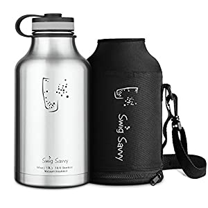 Swig Savvy's Insulated Water Bottle and Beer Growler Wide Mouth 64Oz Capacity Double Wall Design for Hot and Cold Beverages with Water bottle Pouch, Stainless Steel