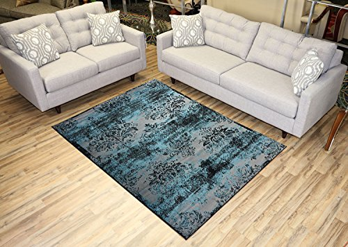 - Studio Collection Vintage French Damask Design Contemporary Modern Area Rug Rugs 3 Options (Damask Silver Grey/Aqua Blue, 5 x 7)