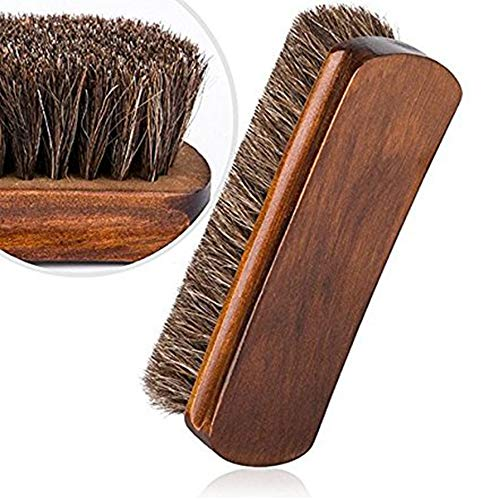 SunnyClover 1 Pcs Convenient and Practical Shoe Polish Applicator Brush Wooden Handle Shoes Brush Pig Hair for Shoes Care Wood Color