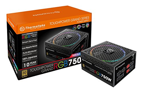 Thermaltake Toughpower Grand RGB 750W 80+ Gold MB 12V RGB Sync SLI/Crossfire Ready Smart Zero Fan Full Modular Power Supply PS-TPG-0750FPCGUS-S 10 Year Warranty