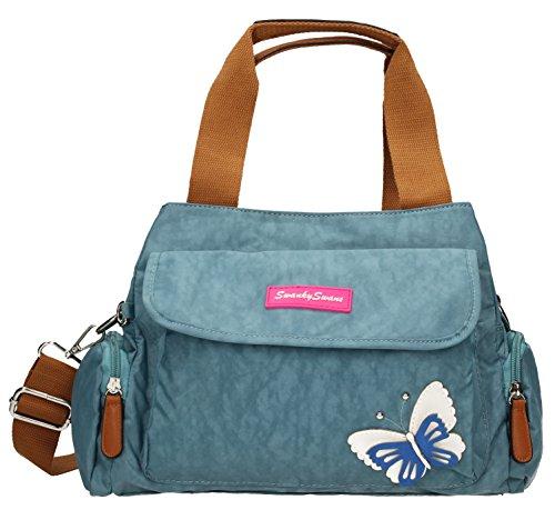 Madison-Custodia con Zip da donna, Multi-Borsa a tracolla con farfalle in 3d,-- SWANKYSWANS Blu (Azzurro)