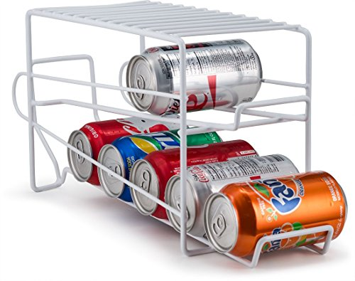 (Home Basics Soda Can Beverage Dispenser Rack for Cabinet, Pantry, or Refrigerator - Dispenses 12 Standard Size 12 oz Soda Cans and 12 oz Canned Foods, White Finish)