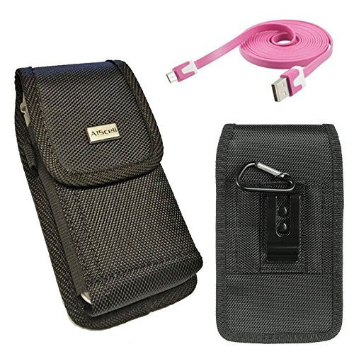 Rugged vertical EX large nylon pouch with belt loop+duty metal clip holster + FREE Micro USB Charger Data Sync Cable For SAMSUNG GALAXY S4 S3 with Lifeproof Waterproof case on (By All_Instore) (Waterproof S4 Galaxy Case Samsung)