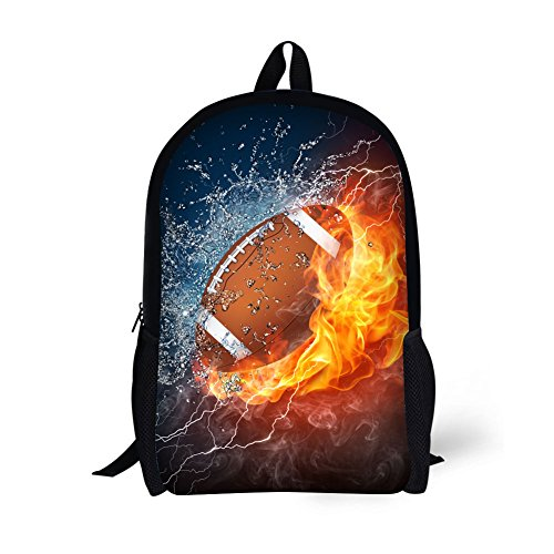 Football Backpack (Children's Travel Package Age6-16 Polyester 17 Inch Combustion pattern School bag (Football))