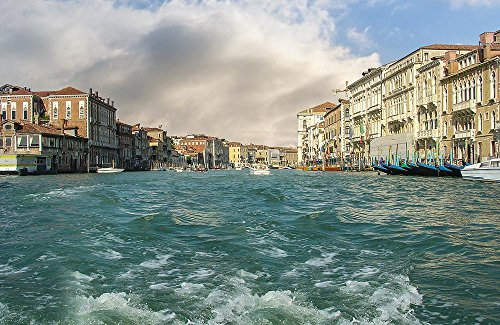 - Quality Prints - Laminated 35x22 Vibrant Durable Photo Poster - Venice Boat Ride Venezia Canal Grand Buildings Venetian Gondola Italy Europe Travel Tourism Cityscape Architecture Tourist Water City