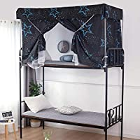 DEALS FOR LESS,Upper Deck Bed Curtain with Mosquito Net, Single Size Dormitory Bed Shade, Foldable, Stars Design
