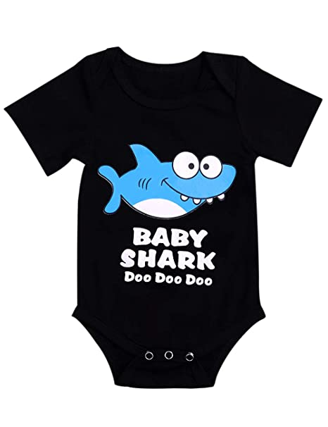 41dcac8c923f Toddler Boys Girls Clothes Baby Shark Doo Doo Romper Newborn Bodysuit Short  Sleeve Onesies for Infant