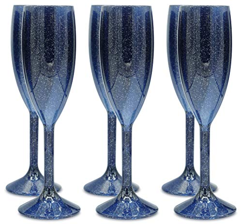 Blue Champagne Glass - Plastic Champagne Flutes - SET OF 6 Premium Reusable Glasses - 100% Dishwasher Safe - Recyclable & Shatterproof Cups | Blue