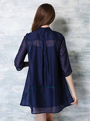 Bobbycool Robe De Dames Écharpe De Broderie Lâche Bleu Costume Deux Pièces
