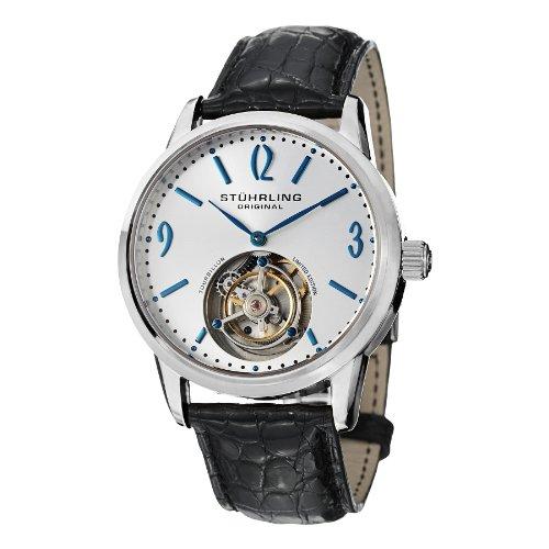 Stuhrling Original Men's 542.331X2 Tourbillon Cuvette Analog Mechanical Hand Wind Black Alligator Leather Watch