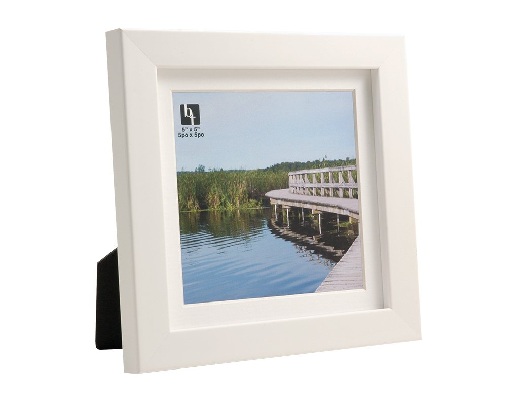 BorderTrends Echo 6x6//5x5-Inch Photo Frame Simply White with White Mat