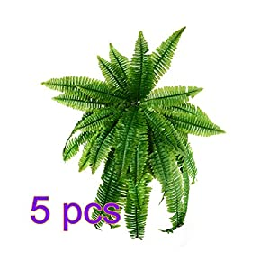Artificial Plastic Ferns Bush Faux Grass Leaves, Beautiful Fake Plant for Indoor-Outdoor Home Décor Fake Simulation Greenery Decorations by HWKAIZ 9