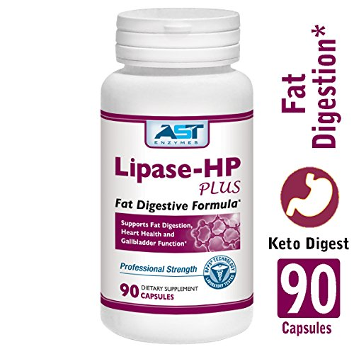 Lipase-HP Plus - 90 Vegetarian Capsules - Fat Digestion Support - Keto Diet Digestive Enzyme Formula - AST Enzymes