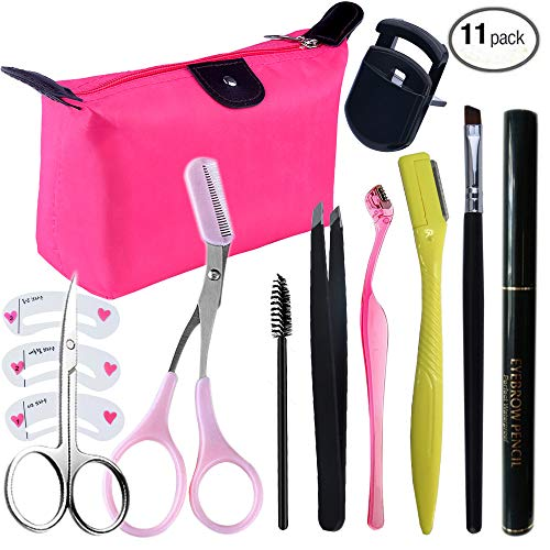 Tweezers and Scissors Set for Eyebrow, Aooher Eyebrows Stencil Shaping Template with Curved Trimmer for Imgrow Hair Removal, Eyebrow Grooming Kit with Makeup Bag (11pcs) (Eyebrow Shaping Kit)