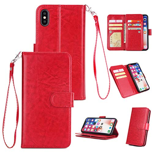 Price comparison product image iPhone Xs 2018 Case,  iPhone X 2017 Case Wallet Morden Simple Leather Cover Kickstand 9 Card Slots Shock Absorption Bumper Magnetic Closure Shell Soft Skin for iPhone Xs / iPhone X Edauto - Red
