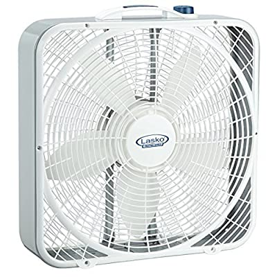 "Whole Room Elegant 20"" Floor Box Fan Energy Efficient High Performance, White"