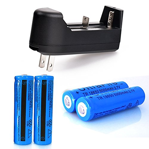 4PCS 5000mAh 3.7v 18650 Li-ion Battery Rechargeable Battery For LED Flashlight With Charger