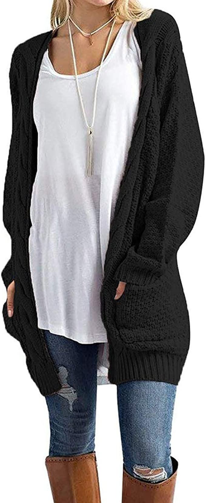 New Ladies Lace Back Open Pocket Cardigan Womens Long Sleeve