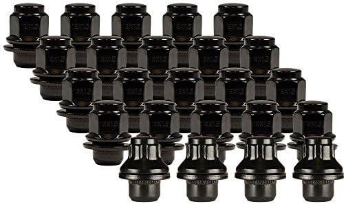 Ceco ブラック バルジ ミディアム マグカップ ワッシャーロック&ラグ取り付けキット (20ナット&4ロック) 12mm 1.50 スレッドピッチ1.47インチ 長さ0.73インチ シャンク直径0.60インチ 六角21mm