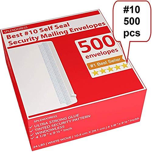 Mailing Envelopes Self Seal - #10 Security White Letter Businesses Envelopes -500 Peel and Seal Tinted Windowless # 10 Envelope - Printer Friendly - Self Stick Bulk Envelops