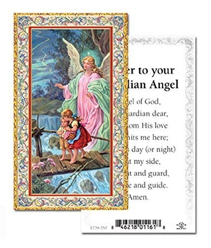 Prayer to your Guardian Angel Gold Embossed Italian Holy Card (Pack of 100)
