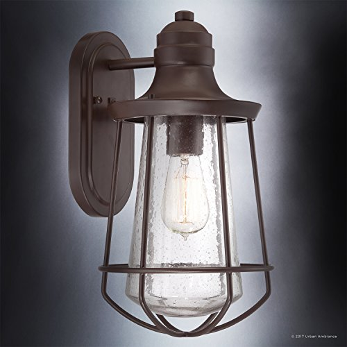 Luxury Vintage Outdoor Wall Light, Medium Size: 15''H x 8.5''W, with Nautical Style Elements, Cage Design, Estate Bronze Finish and Seeded Glass, Includes Edison Bulb, UQL1121 by Urban Ambiance by Urban Ambiance (Image #2)