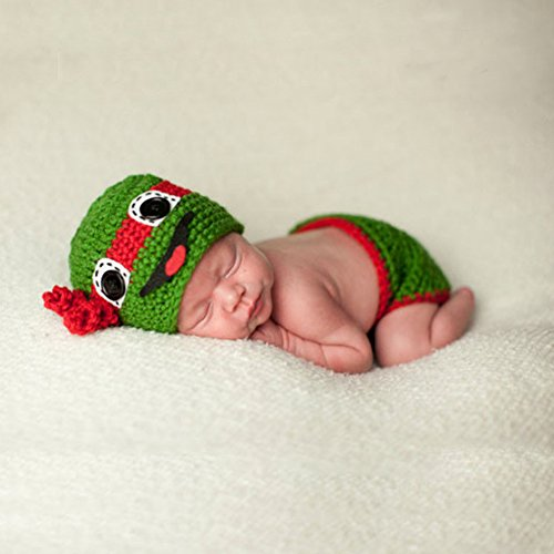 Tueenhuge Baby Photo Props Baby Girls Boys Knit Baby Outfits Costume Hat and Pants (Ninja Turtle) -