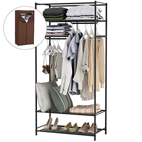 LANGRIA Heavy-Duty Zip Up Closet Shoe Organizer with Detachable Brown Cloth Cover Wardrobe Metal Storage Clothes Rack Armoire with 4 Shelves and 2 Hanging Rods Max Load 463 lbs. (Closet 1)