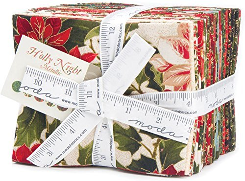 Moda Sentimental Studios (Sentimental Studios Holly Night Metallic 26 Fat Quarter Bundle Moda Fabrics 33100ABM)