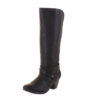 Womens Knee High Comfort Wide Fitting Heeled Leather Style Boots