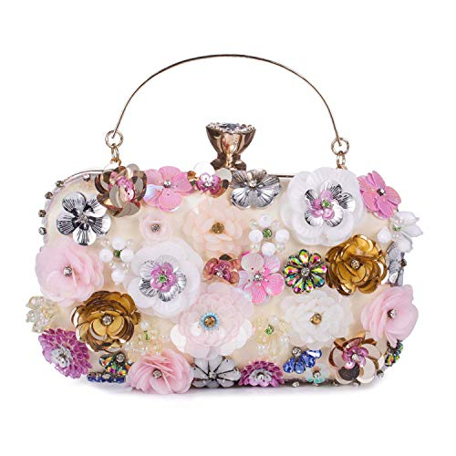 UBORSE Women's Noble Flower Sequins Clutch Colorful Evening Bags Satin Wedding Purse Pink